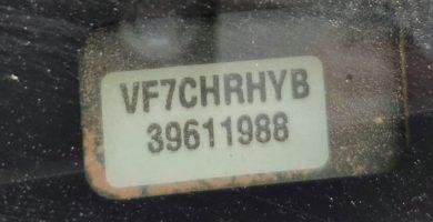 numero de chasis vin vehiculo coche auto